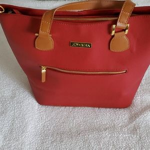 JOY & IMAN red canvas tote with leather Accent